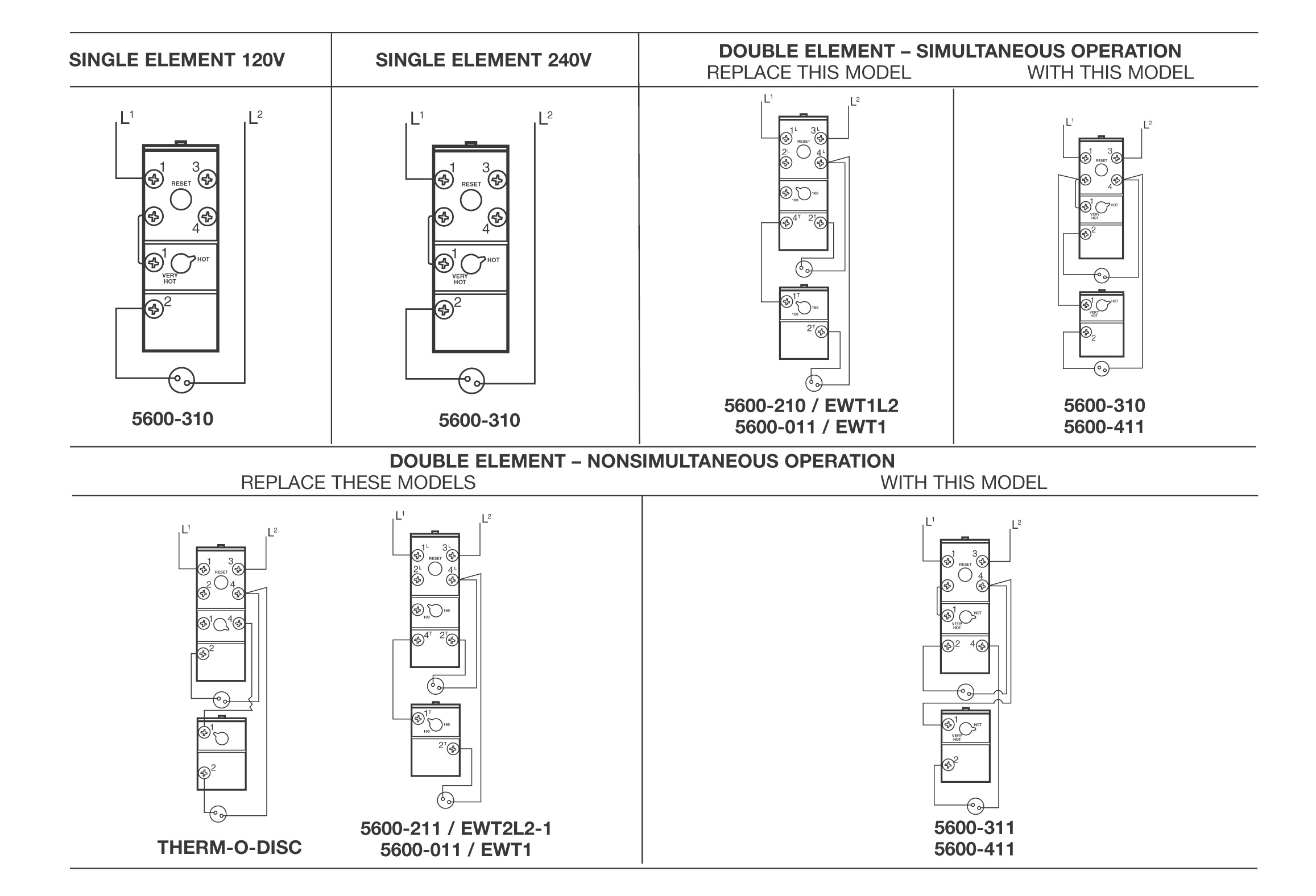 5600 series electric water heater thermostat diagrams