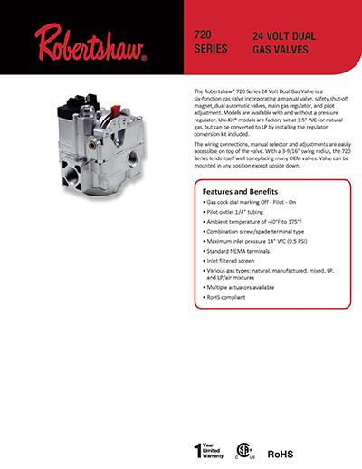 Without Side Taps Robertshaw 720-400 Conbination Dual Gas Valve 3.5 x 4.75 x 5.75