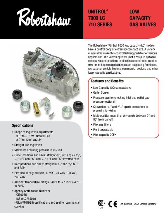 unitrol 7000 lc / 710 series low capacity gas valves sell sheet